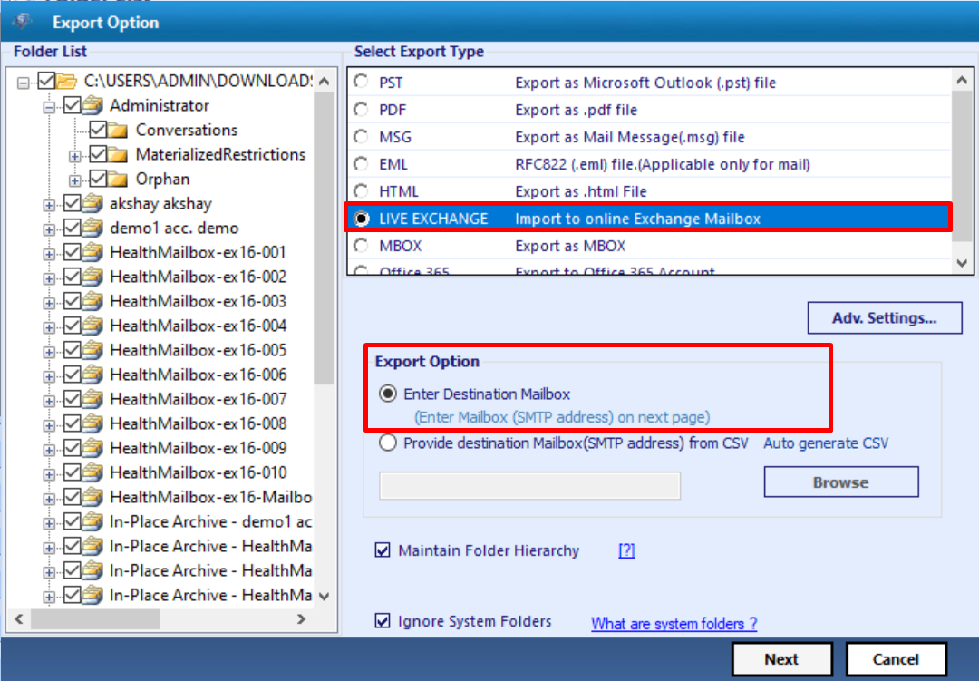 select export option