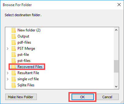 Select Location to save recovered data
