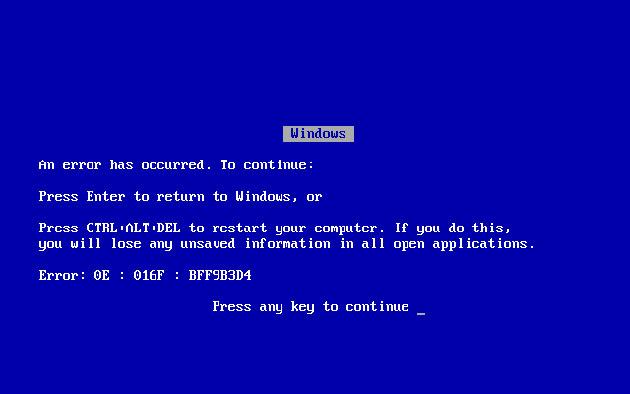 Why is Blue Screen of Death Error in Windows 95