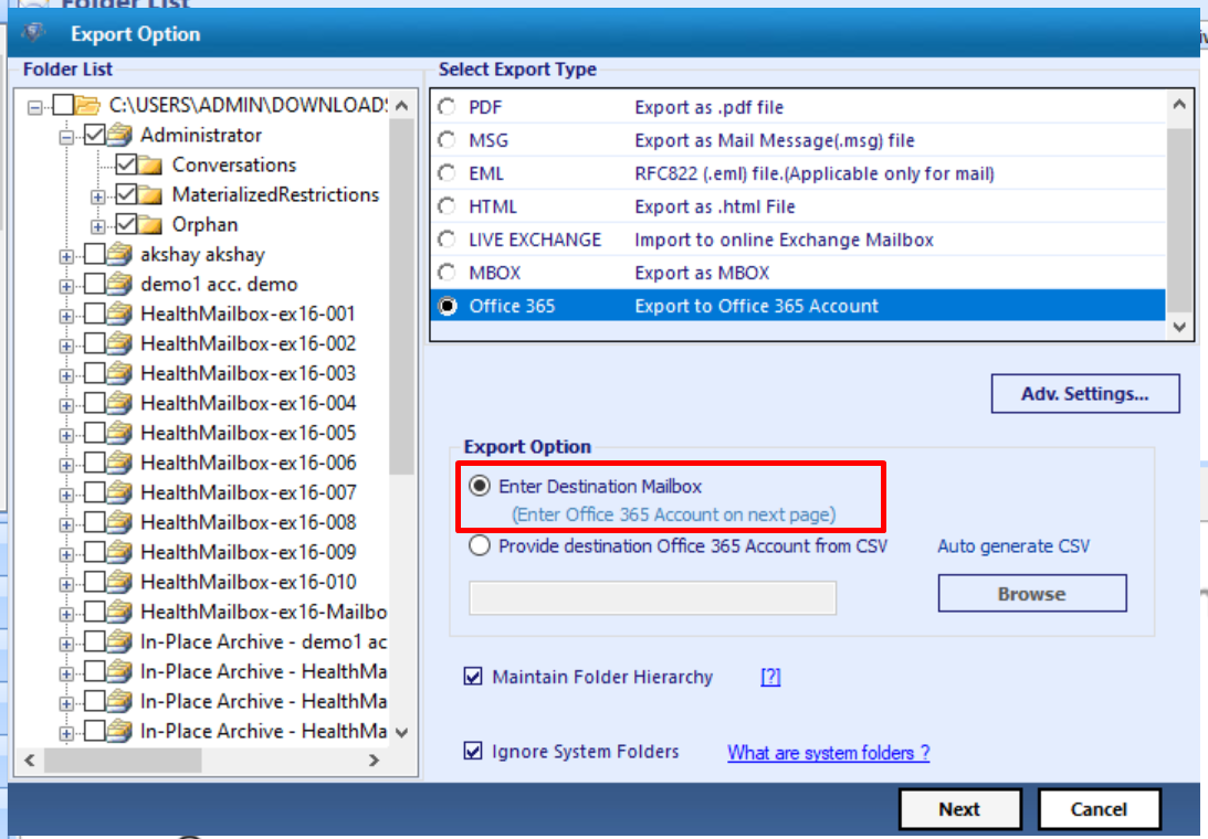 click on export option