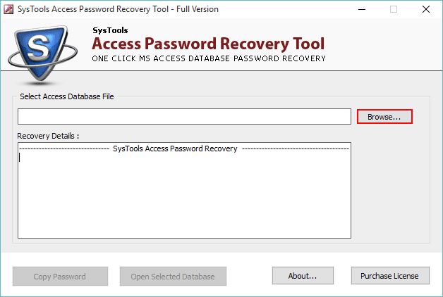 access password recovery software interface