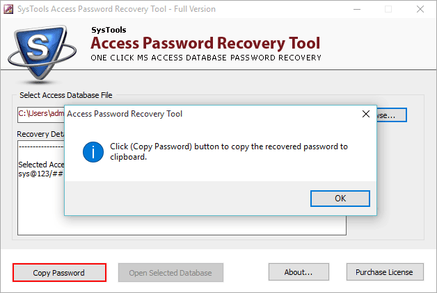 copy recovered password
