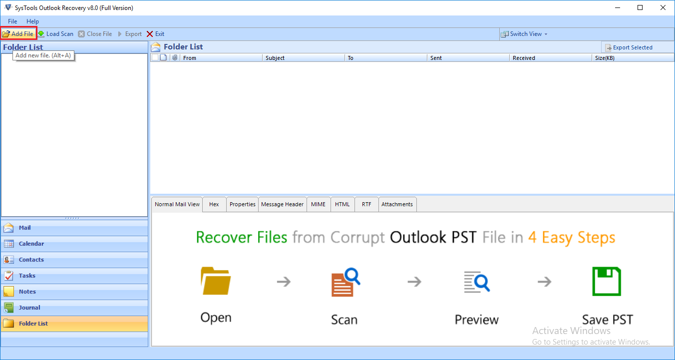 run recovery tool for outlook