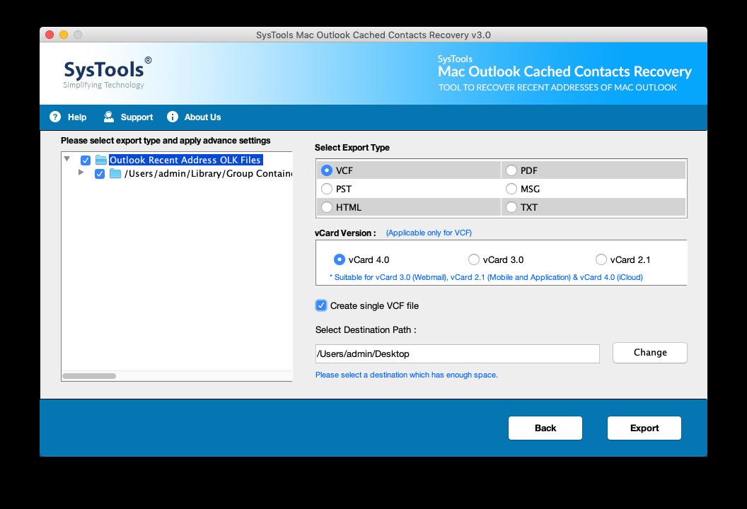 export recent addresses of Mac Outlook