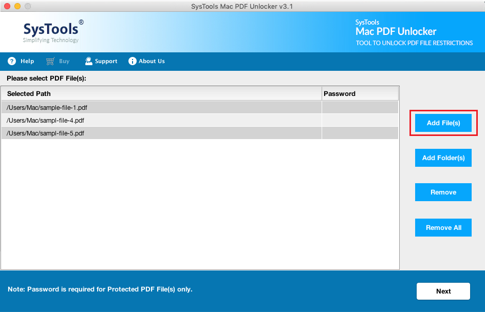 remove password from multiple PDF