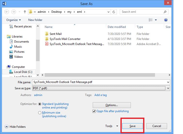 Create separate PDF for Each EML