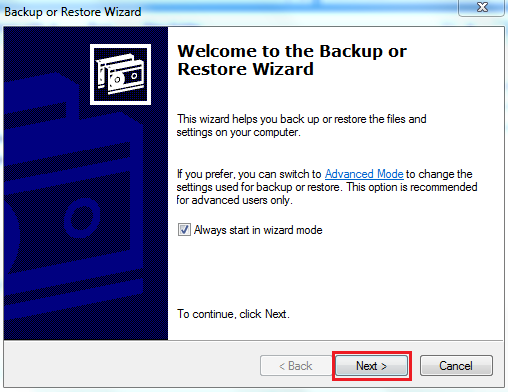 Backup or Restore Wizard