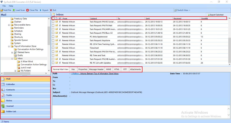 preview edb file data