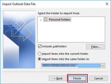 import pst file in outlook