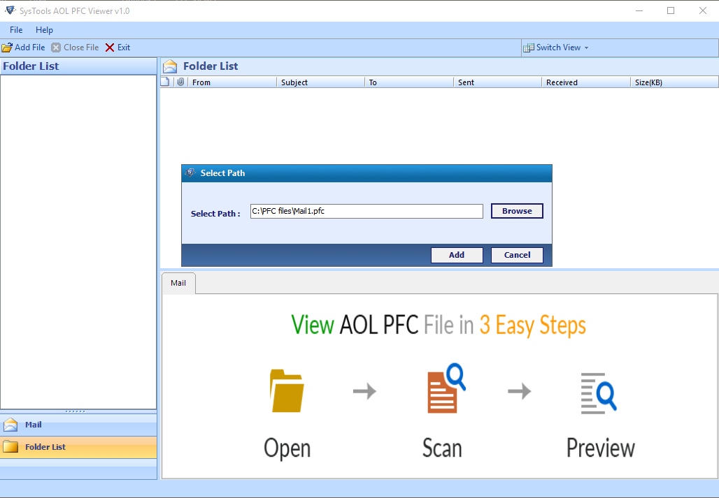 Free AOL PFC File Viewer to Open and Read PFC Emails
